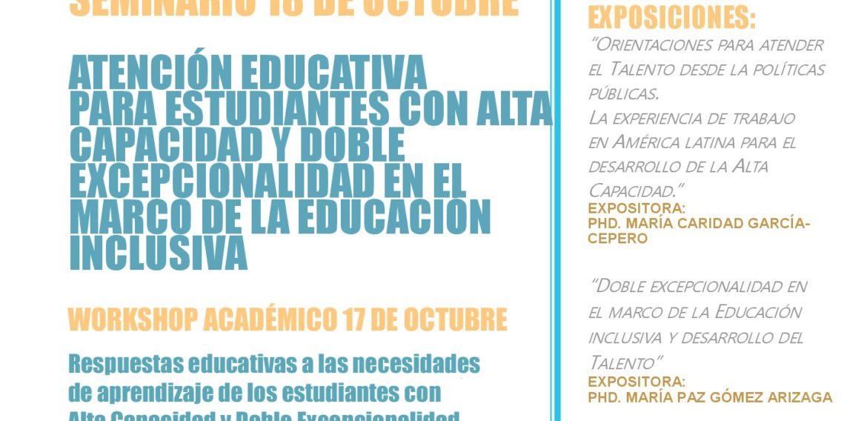 """Equipo de Fondecyt invita a participar en Workshop Académico """"Respuestas educativas a las necesidades de aprendizaje de los estudiantes con Alta Capacidad y Doble Excepcionalidad"""""""